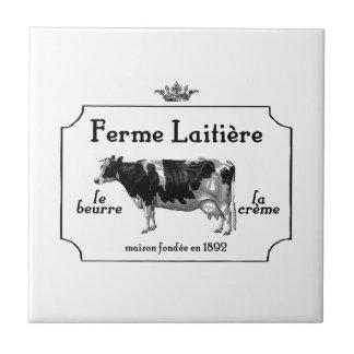 ヴィンテージ牛が付いているヴィンテージのフランスのな酪農場 タイル