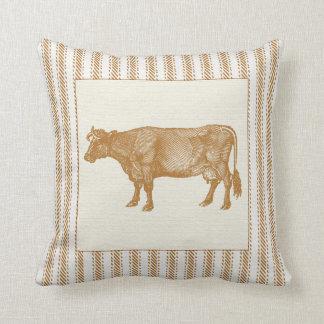 ヴィンテージ牛とのブラウンのカチカチ音をたてる効果 クッション