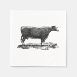 ヴィンテージ牛エッチングのナプキン スタンダードカクテルナプキン