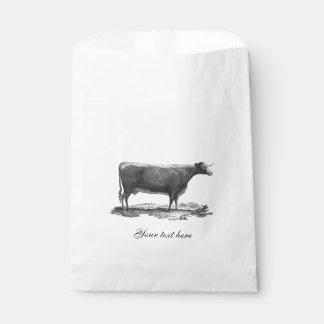 ヴィンテージ牛エッチングのバッグ フェイバーバッグ