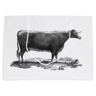 ヴィンテージ牛エッチングのバッグ ラージペーパーバッグ