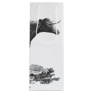 ヴィンテージ牛エッチングのバッグ ワインギフトバッグ