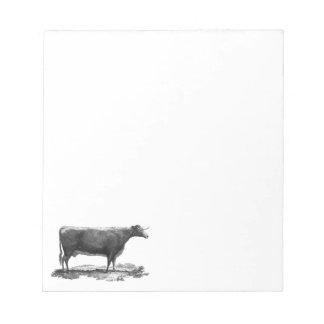 ヴィンテージ牛エッチングのメモ帳 ノートパッド