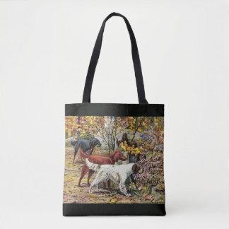 ヴィンテージ犬のセッターのトリオの黒 トートバッグ