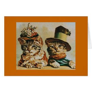 ヴィンテージ猫のカップル記念日 カード