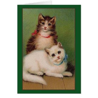 ヴィンテージ猫のメッセージカード グリーティングカード