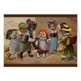 ヴィンテージ猫の授業日のメッセージカード カード