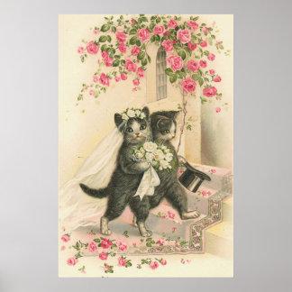 ヴィンテージ猫の新郎新婦の結婚式ポスター ポスター