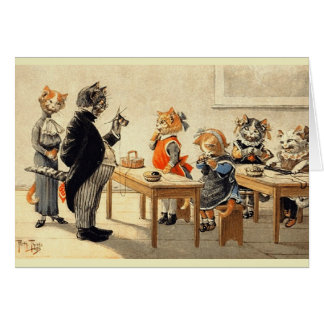 ヴィンテージ猫の編み物の学校のメッセージカード カード