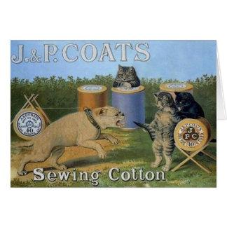 ヴィンテージ猫の裁縫の綿の広告のメッセージカード カード