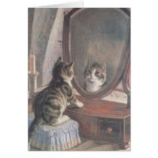 ヴィンテージ猫の鏡反射のメッセージカード カード