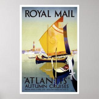 ヴィンテージ王室のな郵便ベニスイタリアアトランティスの巡航 ポスター