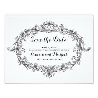 ヴィンテージ白黒スクロール保存日付 カード