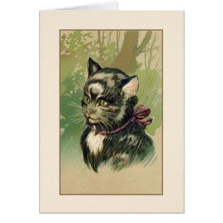 ヴィンテージ白黒猫のポートレートのメッセージカード カード