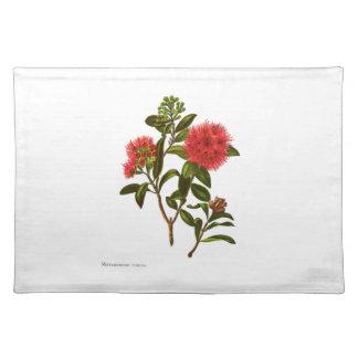 ヴィンテージ科学NZの花- Meterosiderosフロリダ ランチョンマット