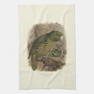 ヴィンテージ科学NZの鳥-フクロウオウムのふきん キッチンタオル