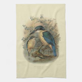 ヴィンテージ科学NZの鳥- NZのカワセミ キッチンタオル