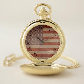 ヴィンテージ米国の旗のアメリカのテーマ ポケットウォッチ