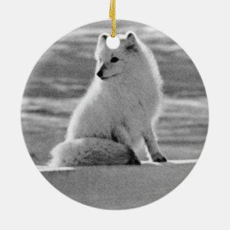 ヴィンテージ米国アラスカのホッキョクギツネ1970年 セラミックオーナメント