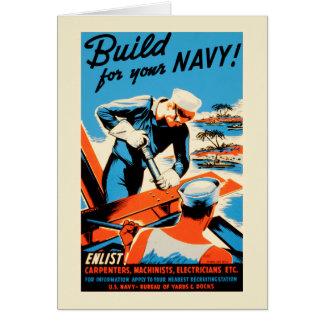 ヴィンテージ米国海軍ポスター-あなたの海軍のための造り カード