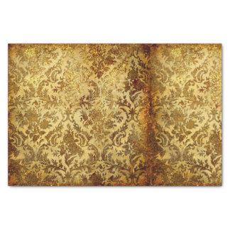 、ヴィンテージ素朴な、金ゴールドアンティーク、シックなダマスク織、エレガント 薄葉紙