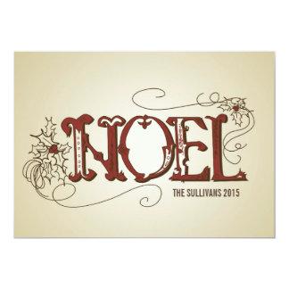 ヴィンテージ素朴なNOELのタイポグラフィのクリスマスの平らなカード カード