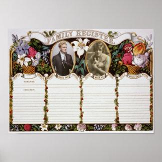 ヴィンテージ結婚のためのカスタマイズ可能な家族の記録 ポスター