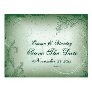 ヴィンテージ緑スクロール葉の保存日付 ポストカード