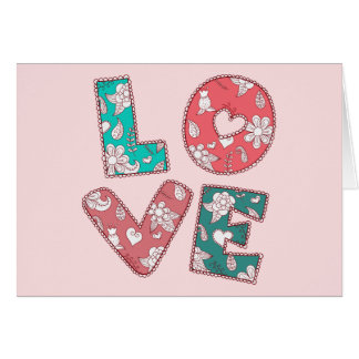 ヴィンテージ腰回りが大きな愛緑およびピンクの赤いメッセージカード カード