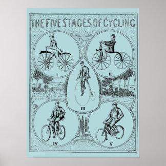 ヴィンテージ自転車に乗るプリントの1907の5つのステージ ポスター