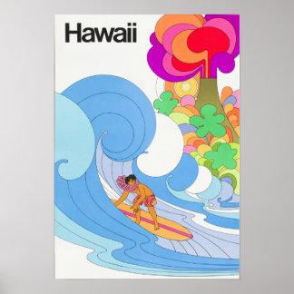 ヴィンテージ航空会社のハワイ旅行 ポスター