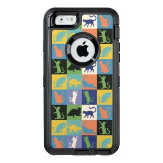 ヴィンテージ色の猫のシルエットのキルトの正方形 オッターボックスディフェンダーiPhoneケース