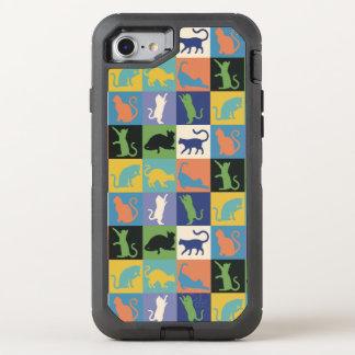 ヴィンテージ色の猫のシルエットのキルトの正方形 オッターボックスディフェンダーiPhone 7 ケース