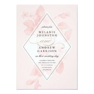 ヴィンテージ花の模造のなホイルの結婚式招待状 カード