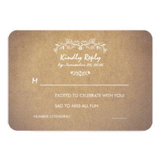 ヴィンテージ花の素朴な結婚RSVPのカード カード