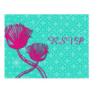 ヴィンテージ花の結婚RSVPの郵便はがき ポストカード