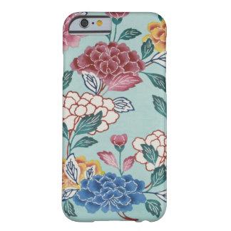 ヴィンテージ花パターンアジア芸術の青いiPhoneの箱 Barely There iPhone 6 ケース