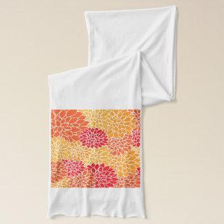 ヴィンテージ花パターンオレンジ赤のダリアの花 スカーフ