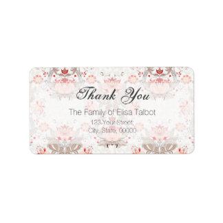 ヴィンテージ花パターンダマスク織はラベル感謝していしています ラベル