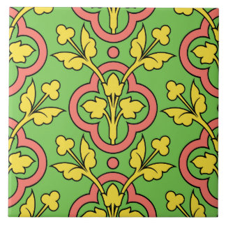 ヴィンテージ花パターン緑のモモの黄色の装飾 タイル