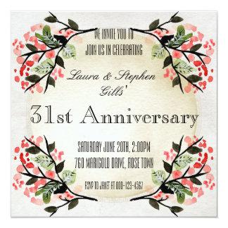 ヴィンテージ花フレームの結婚記念日 カード