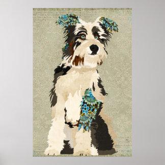 ヴィンテージ花犬の芸術ポスター ポスター