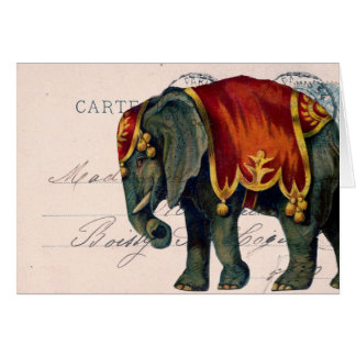 ヴィンテージ象の郵便はがきのデジタル芸術、誕生日 カード