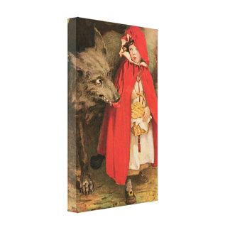 ヴィンテージ赤ずきんおよび大きく悪いオオカミ キャンバスプリント