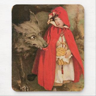 ヴィンテージ赤ずきんおよび大きく悪いオオカミ マウスパッド