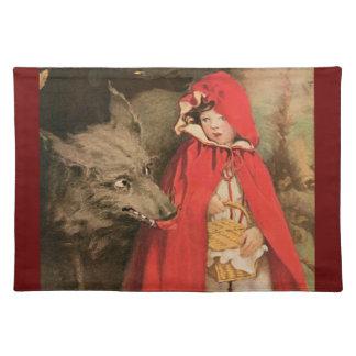 ヴィンテージ赤ずきんおよび大きく悪いオオカミ ランチョンマット