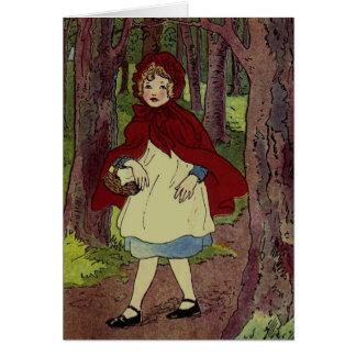 ヴィンテージ赤ずきんのイラストレーション カード