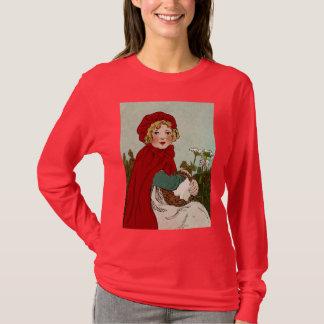 ヴィンテージ赤ずきんのイラストレーション Tシャツ