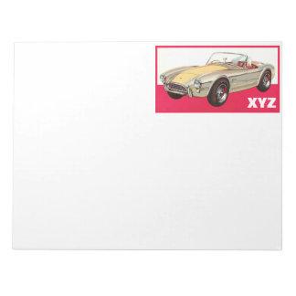 ヴィンテージ車のカスタムなモノグラムのメモ帳 ノートパッド