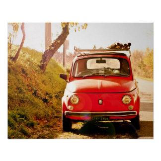 ヴィンテージ車の完全なポスター|フィアット500% pipe%ローマイタリア ポスター